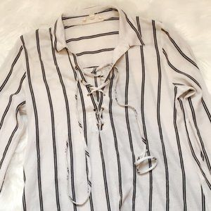 Sweet Wanderer White and Black Striped Lace Up Top